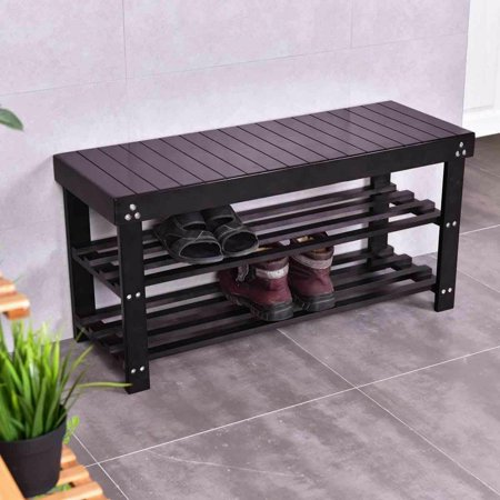 Costway Solid Wooden Shoe Bench Storage Racks Seat Organizer Entryway Hallway Black ()