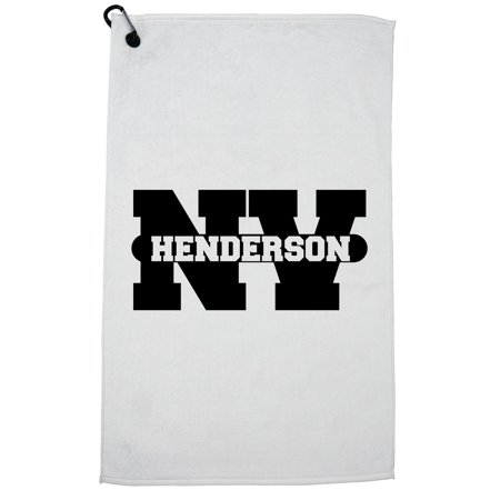 City Of Henderson Nv (Henderson, Nevada NV Classic City State Sign Golf Towel with Carabiner)