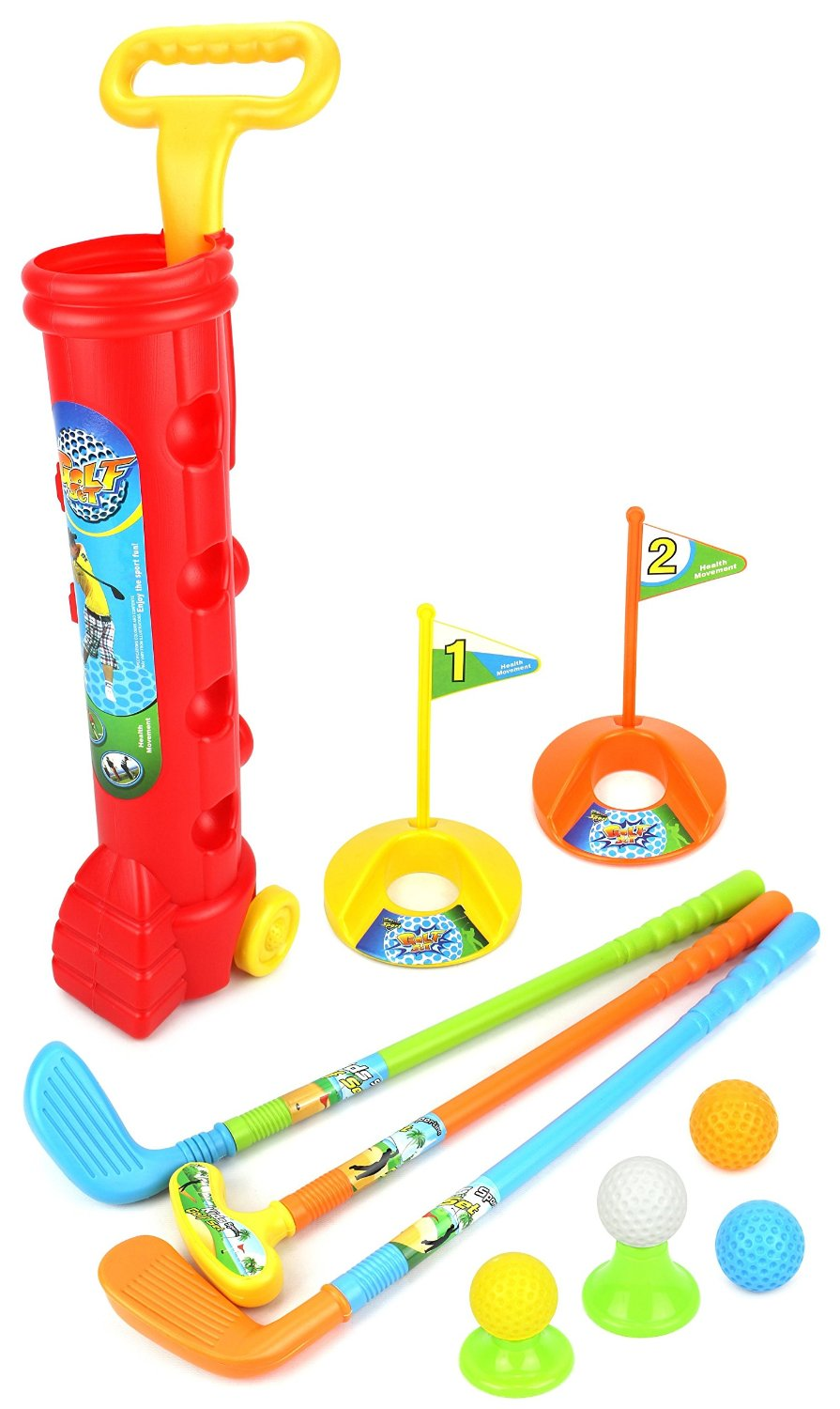 Toy Golf Set for Children Kid's Lil Golfers Toy Golf Play Set w  4 Balls, 3 Clubs, 2 Practice Holes, 2 Flags,... by Velocity Toys