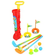 Toy Golf Set for Children Kid's Lil Golfers Toy Golf Play Set w/ 4 Balls, 3 Clubs, 2 Practice Holes, 2 Flags, 2 Tees (Colors May Vary)