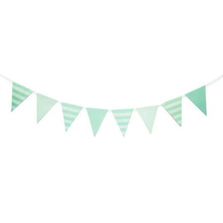 Mint Striped Banner Party Decoration Party Supplies
