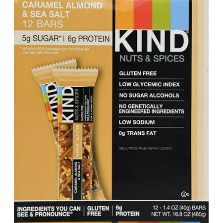 KIND Bars, Caramel Almond & Sea Salt, Gluten Free, Low Sugar, 1.4oz, 12 (Unique Caramel Color Glass)