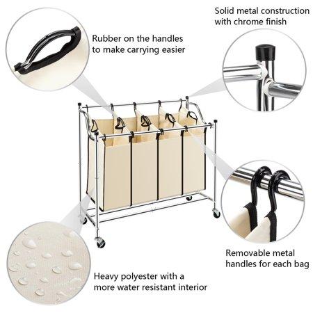 Zimtown Laundry Sorter 4 Bag Mobile Hamper Cart Clothes Storage (Laundry Hamper Cat)