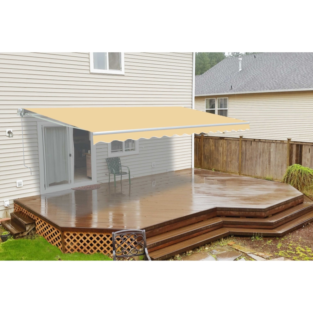 ALEKO 10'x8' Motorized Retractable Patio Awning, Ivory Color