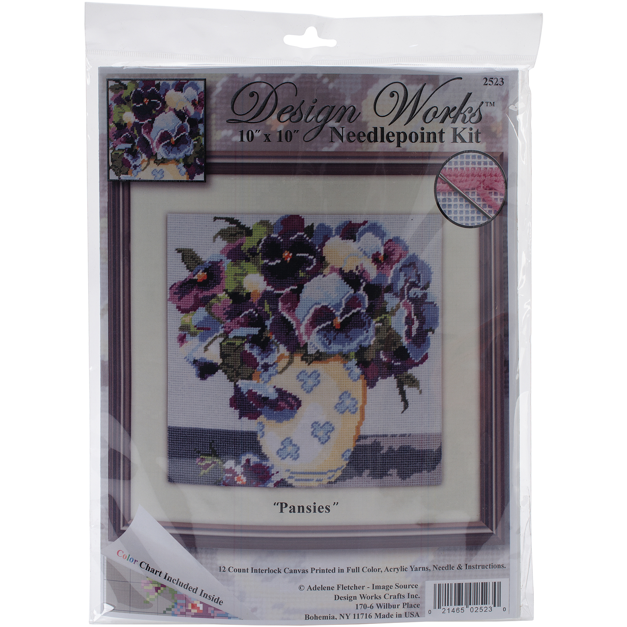"Pansies Needlepoint Kit, 10"" x 10"""