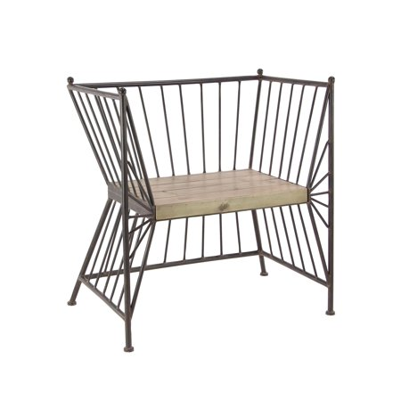 Excellent Decmode Modern Metal Chair With Wooden Slab Seat Gray Walmart Com Beutiful Home Inspiration Ommitmahrainfo