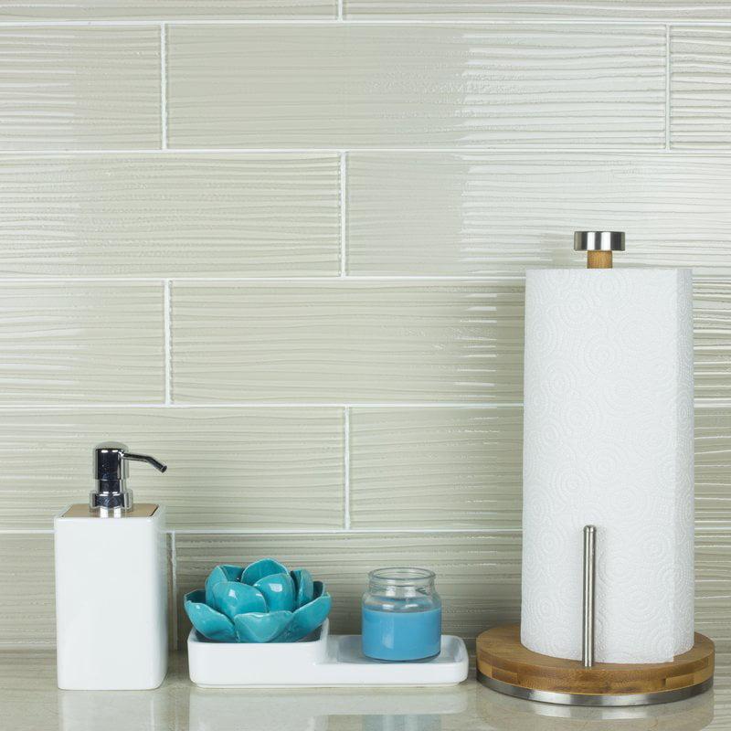 "Abolos- Monroe 4"" x 16"" Glass Wood Look/Field Backsplash Tile in White (16sqft, 36pc Per Box)"