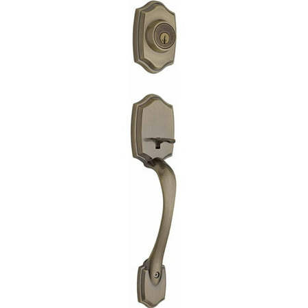 Handleset Brass Knob - Kwikset Belleview Single Cylinder Handleset w/Tylo Knob featuring SmartKey® in Antique Brass