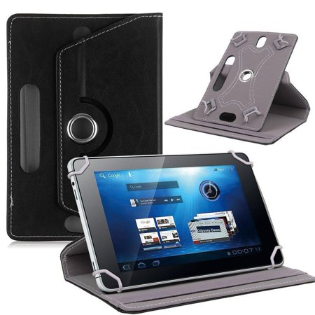 "Universal 10"" Tablet PU Leather Folio 360 Degree Rotating Stand Case Cover Black"