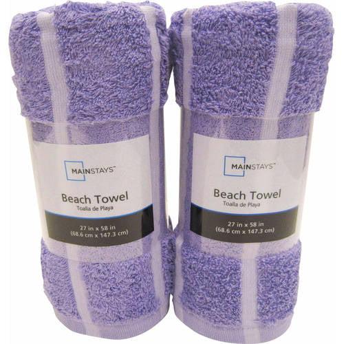 Mainstays Cotton/Poly Blended Stripe Beach Towel Set, Set of 2