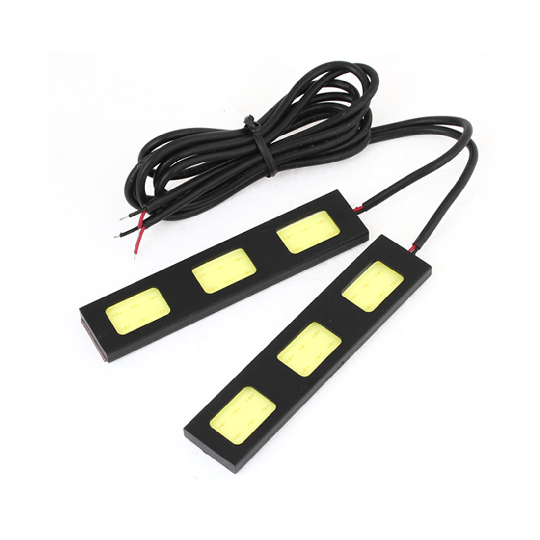 Unique Bargains DC 12V 6W 3 COB White  Car Driving Daytime Running Light Lamp 92mm 2 Pcs