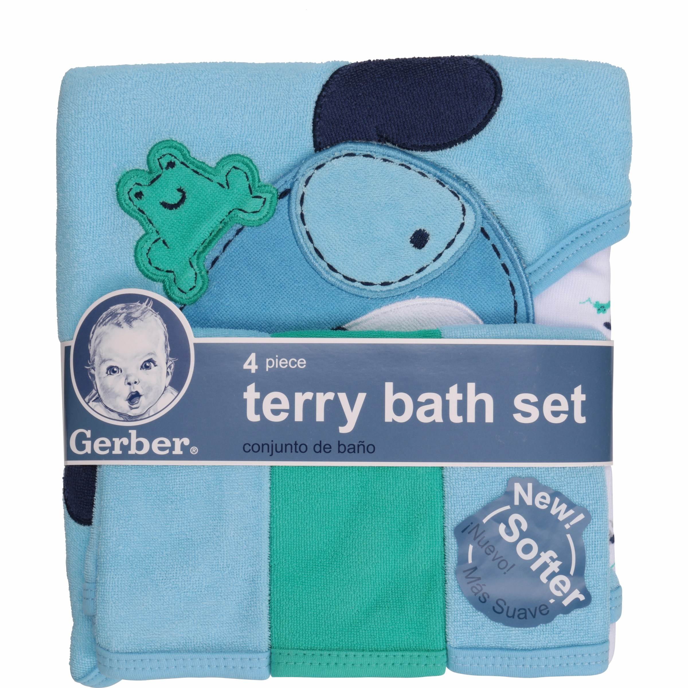Gerber Newborn Baby Boy Towel and Washcloths Bath Gift Set, Dog, 4 ...