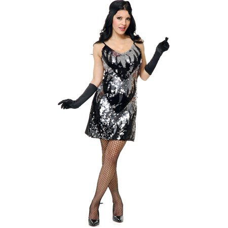 Adults Womens 20s Black Silver Flapper Girl Sequin Dress Costume