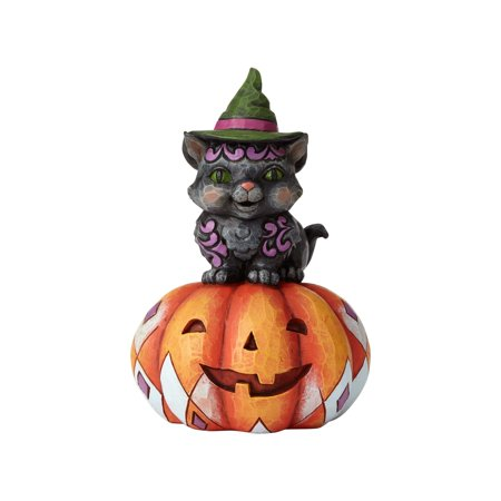 Jim Shore Halloween Pint Sized Black Cat on Pumpkin Resin Figurine New with Box
