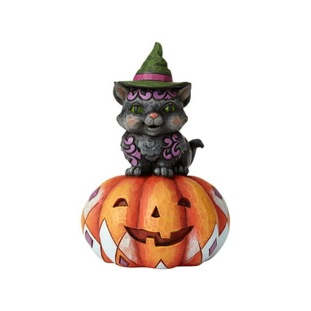 Jim Shore Halloween Pint Sized Black Cat on Pumpkin Resin Figurine New with Box - Jim Halpert Halloween