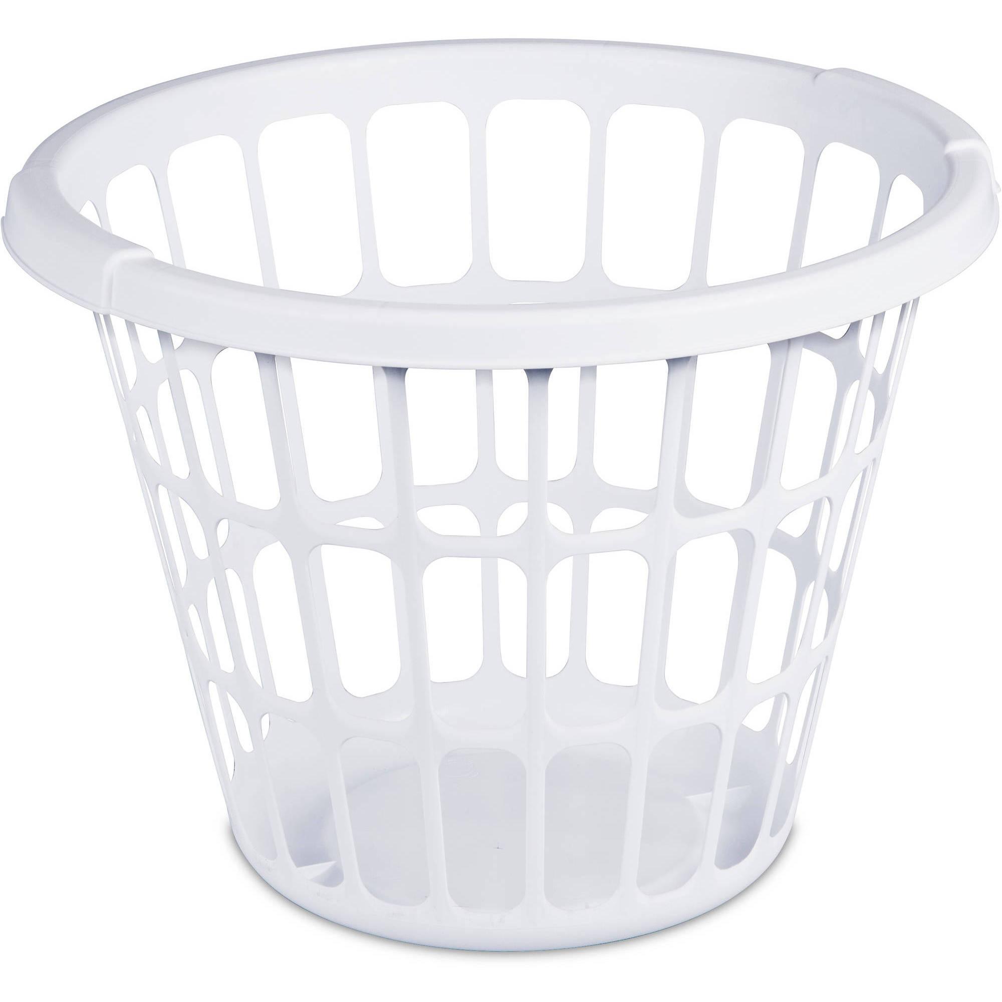 Mainstays 1 Bushel Laundry Basket- White, (Available in Case of 12 or Single Unit)