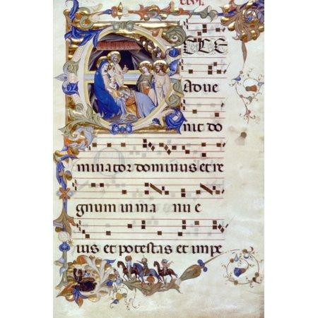 Adoration Of Magi Nin An Initial E Florentine Gradual Illumination Late 14Th Century Rolled Canvas Art -  (24 x 36) (Illumination Lace)