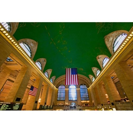 Grand Central Station panoramic view with American Flag at Amtrak Station in New York City, NY Print Wall (Grand Central Station To Penn Station Ny)
