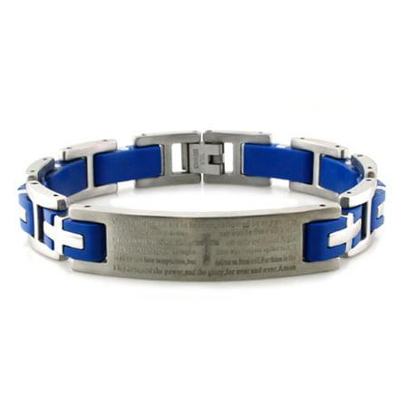Stainless Steel Lord's Prayer Biker Blue Rubber Link - Rubber Link Bracelet
