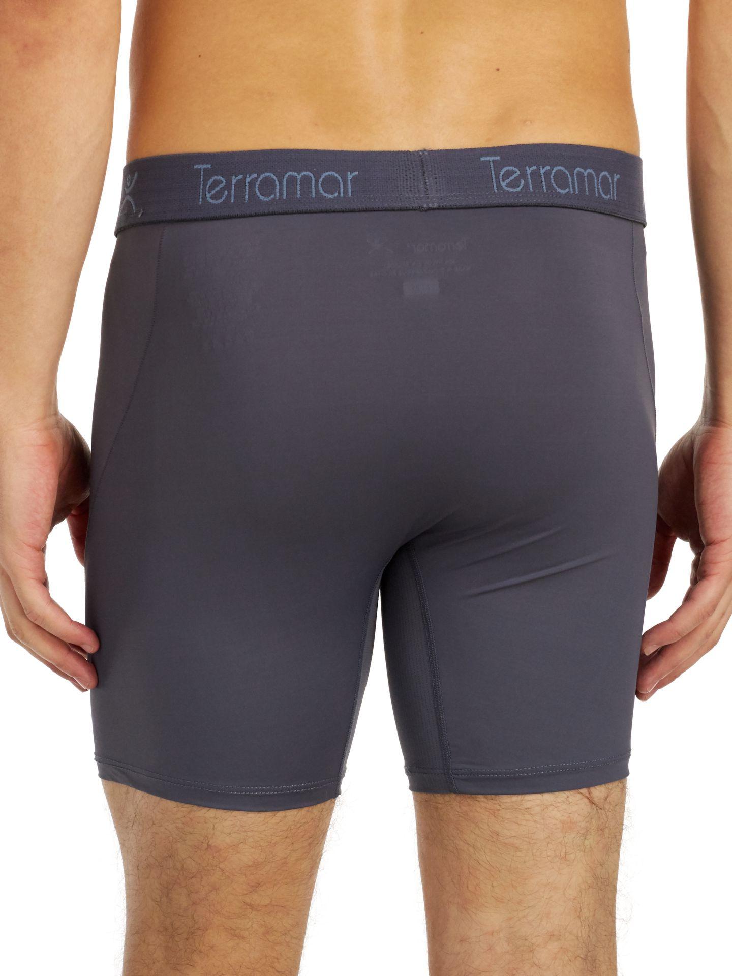 """Terramar Men/'s Microcool Mesh 6/"""" Boxer Briefs Underwear Grey or Black 1 Pack"""