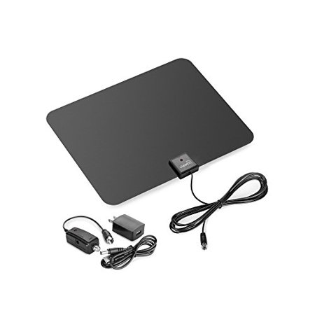 ViewTV Flat HD Digital Indoor Amplified TV Antenna – 60 Miles Range – Detachable Amplifier Signal Booster – 12ft Coax Cable – Black