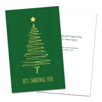 Personalized Abstract Golden Tree Folded Christmas Greeting Card