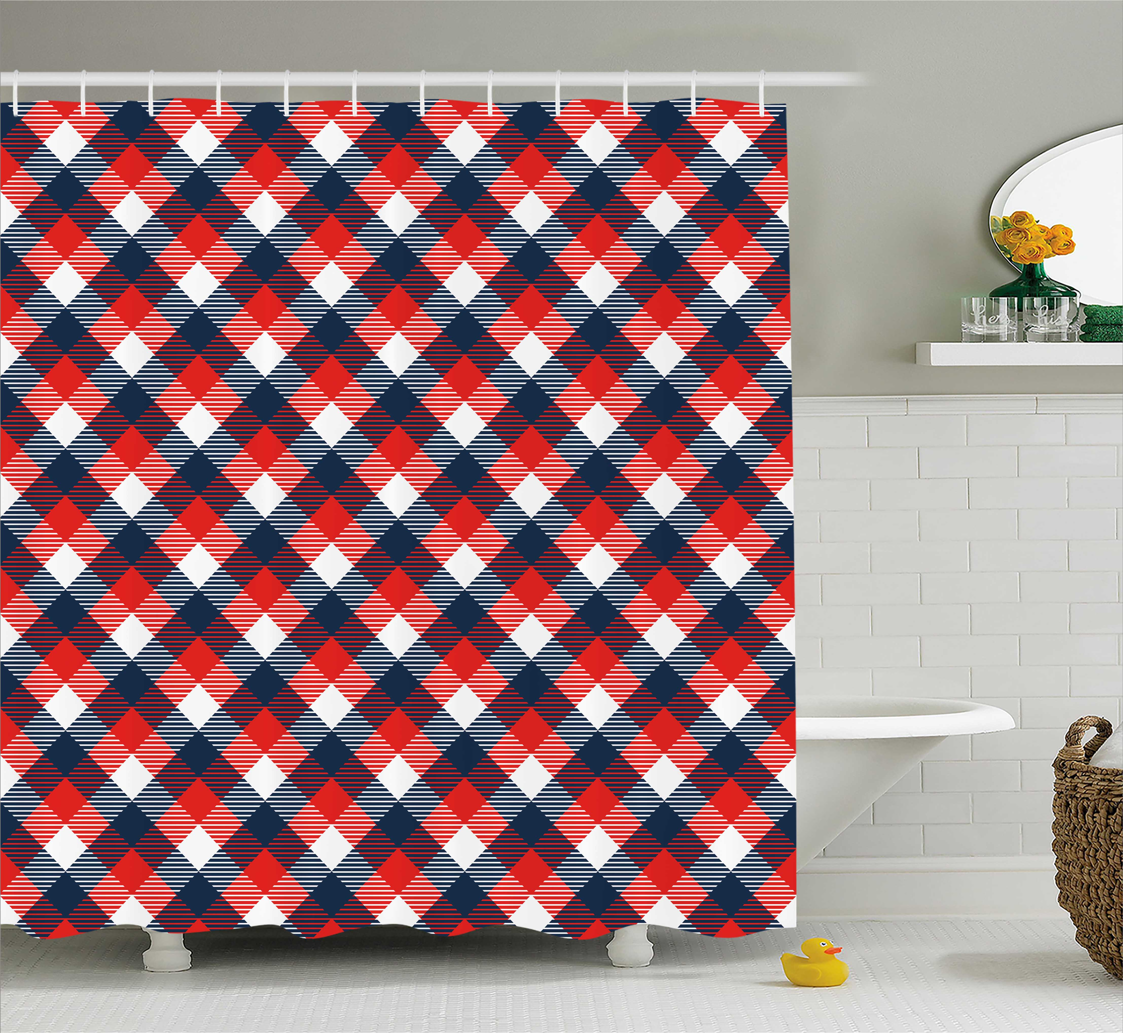 Abstract Shower Curtain, Houndstooth Pattern in Colorful Bars Royal British Clan Style Design, Fabric Bathroom Set with Hooks, 69W X 84L Inches Extra Long, Dark Blue Red White, by Ambesonne