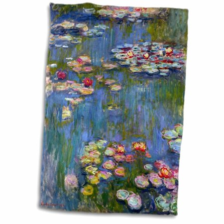 3dRose Water lilies by Claude Monet - impressionism - impressionist waterlilies on pond - famous fine art - Towel, 15 by 22-inch