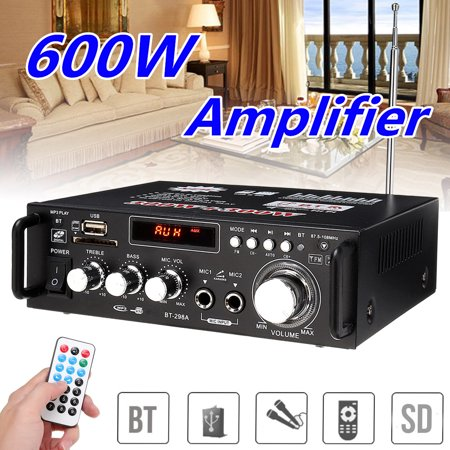 HALLOLURE 600W 110V 4-16Ohm Home/Car Digital Amplifier Wireless b luetooth Receiver Speaker HIFI Stereo Audio AMP USB/SD/MP3 2 Mic Inputs For Car Home i Pad Phones Tablet Computers