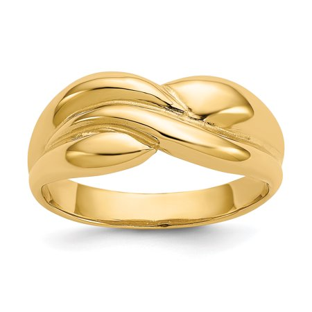 - 14k Yellow Gold Twisted Dome Band Ring Size 7.00 For Women