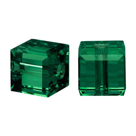 Swarovski Emerald Green Cufflinks - Swarovski Crystal, #5601 Cube Beads 4mm, 10 Pieces, Emerald Green