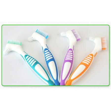 1-Pack Denture Cleaning Brush Set- Premium Hygiene Denture Cleaner Set For Denture Care- Top Denture Cleanser Tool w/ Multi-Layered Bristles & Ergonomic Rubber
