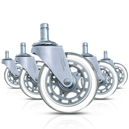 Modern Innovations 3″ Office Chair Casters, Set of 5 Office Chair Wheels for Hard Floors, Hardwood Floors, Laminate Floors and Carpet – Replacement Office Chair Wheels