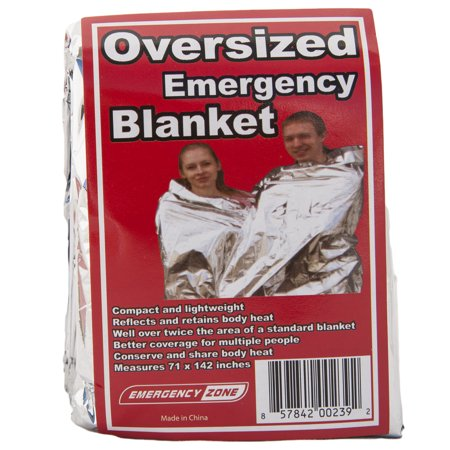 Thermal Reflective (71x142 Inch Oversized Emergency Blanket, Emergency Zone Brand, Reflective Thermal Blanket)