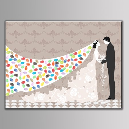 WALFRONT 4 Types Fingerprint / Thumbprint Tree Canvas Personal Wedding Guest Signature With 6 Colors Ink, Thumbprint Tree, Fingerprint Tree Canvas](Halloween Thumbprints)