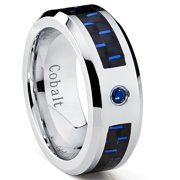Cobalt Men's Wedding Band Ring with Black and Blue Carbon Fiber Inlay and 0.05 Carat Blue Sapphire