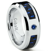 Cobalt Men's Wedding Band Ring W/ Black and Blue Carbon Fiber Inlay and 0.05 Carat Blue Sapphire
