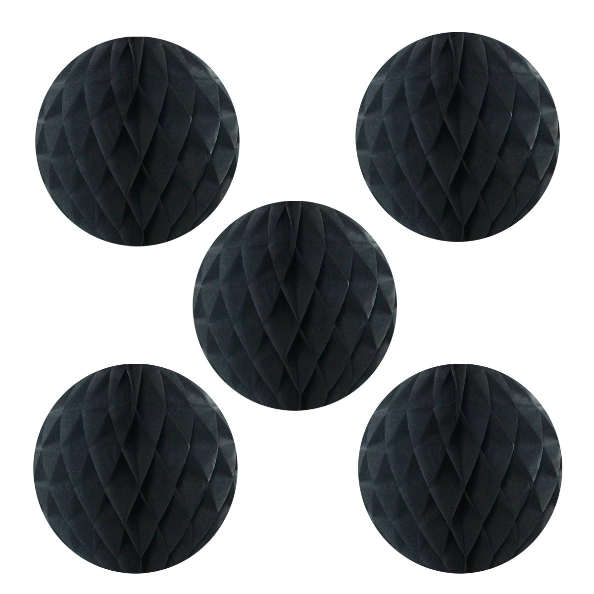 """Wrapables® 6"""" Set of 5 Tissue Honeycomb Ball Party Decorations for Weddings, Birthday Parties, Baby Showers, and Nursery Décor, Black"""