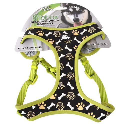 Coastal Pet Pet Attire Ribbon Designer Wrap Adjustable Dog Harness - Brown Paw and Bones Fits 19-23 Inch Girth - (5/8 Inch Straps)