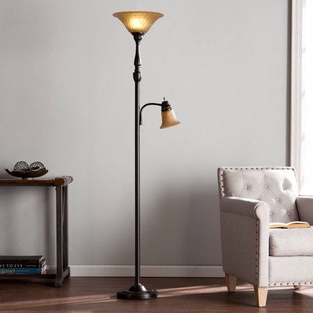 Southern Enterprises Kellum Transitional Style Floor Lamp, Black