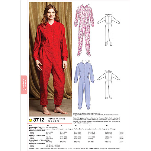 Kwik Sew Pattern Pajamas, (XS, S, M, L, XL)