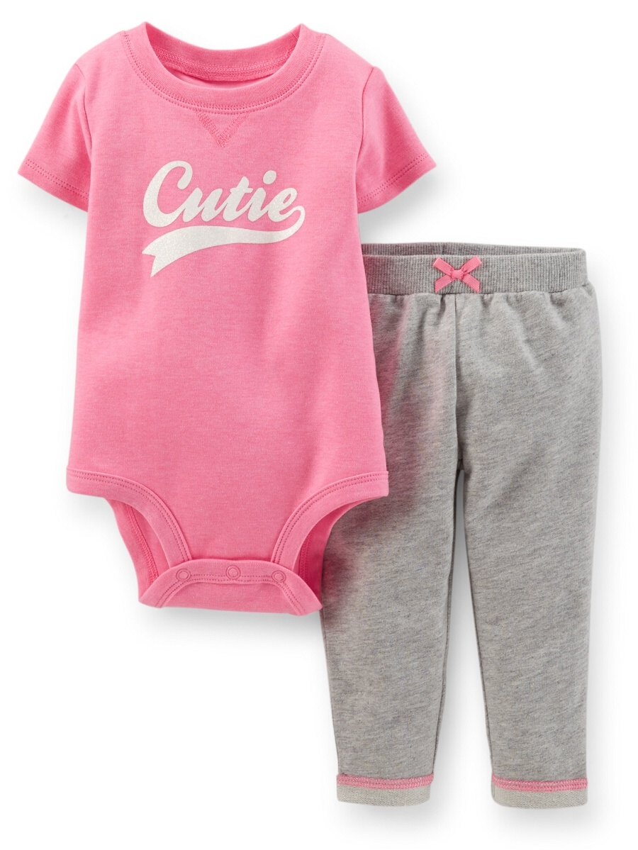 Carters Baby Clothing Outfit Girls 2-Piece Bodysuit & French Terry Pant Set - Pink/Heather