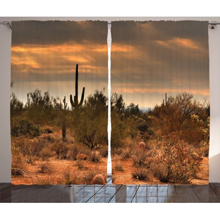 Saguaro Cactus Decor Curtains 2 Panels Set, Dramatic Shady Desert View With A Storm Cloud Approaching Western Arizona Photo, Living Room Bedroom Accessories, By Ambesonne