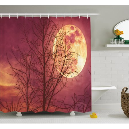 Dark Red Shower Curtain Night Sky Super Moon Behind Silhouette Of Dead Tree Serenity Nature