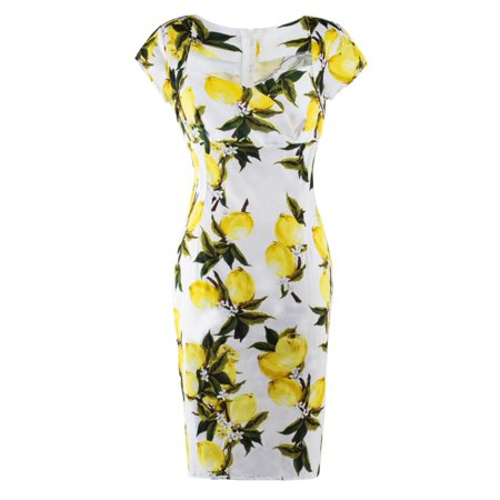 Sexy Dance Lemon Floral Printed Bodycon Pencil Dress for Women - Tween Dance Dresses