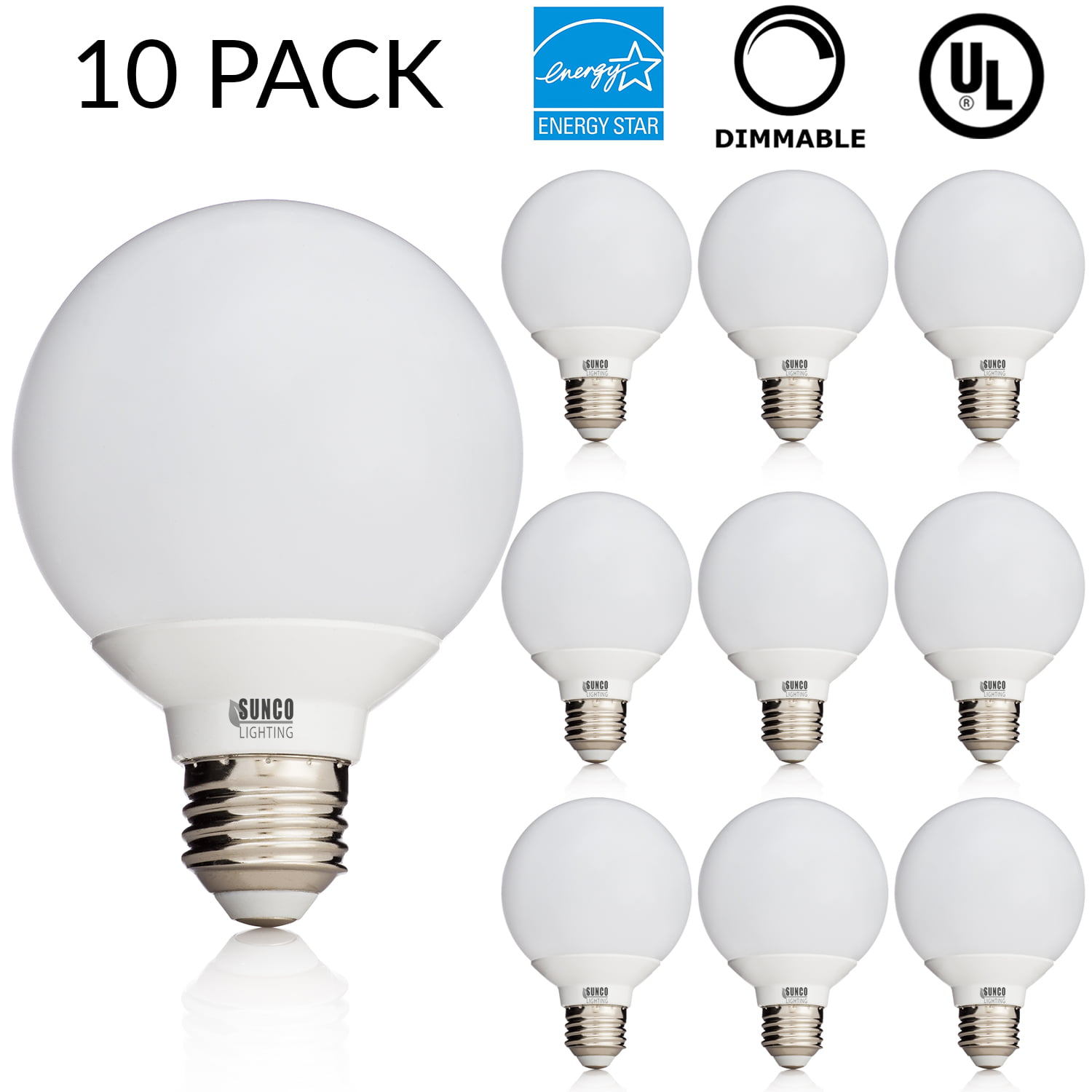 A19 LED E26 Base Bulb Frosted Glass Classic Style Dimmable 2700K Warm White 6 Pack 800 Lumen 8W 60W Replacement Energy Star /& UL Listed