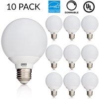 10 PACK - UL & ENERGY STAR LISTED - 6W Dimmable G25 LED Bulb, 60W Equivalent Vanity Light Bulb, Daylight 5000K, Medium E26 Screw Base Omnidirectional Globe Bulb