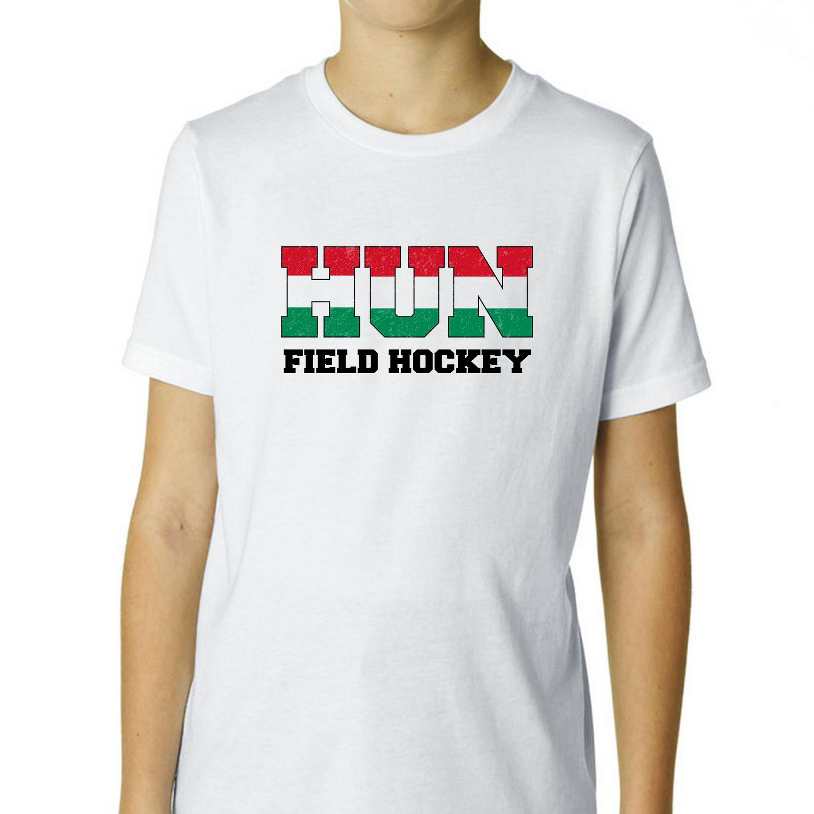 Hungary Field Hockey Olympic Games Rio Flag Boy's Cotton Youth T-Shirt by Hollywood Thread