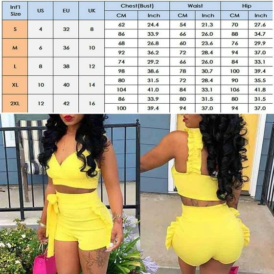 0d3a7bb82b Urkutoba - Women Summer Bodycon Ruffle Crop Top Shorts 2 Pieces Set ...