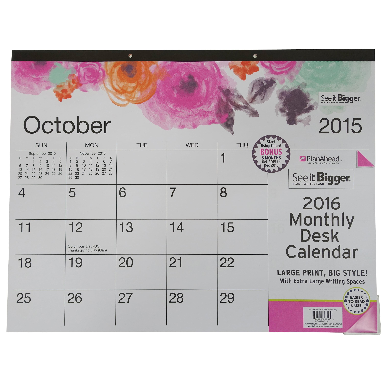 See It Bigger Deskpad Calendar Walmart Com